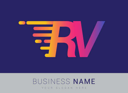 Initial Letter RV speed Design template, company name colored yellow, magenta and blue.for business and company identity. 向量圖像