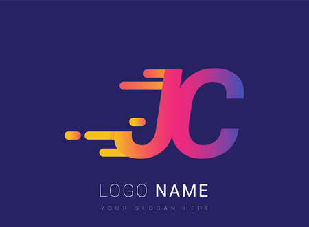 Initial Letter JC speed Design template, company name colored yellow, magenta and blue.for business and company identity.