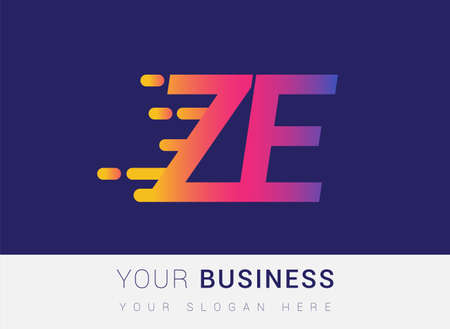 Initial Letter ZE speed Design template, company name colored yellow, magenta and blue.for business and company identity. 向量圖像
