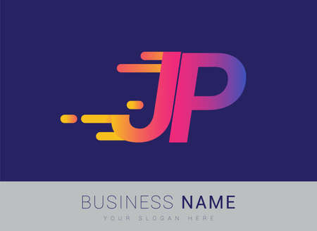 Initial Letter JP speed Design template, company name colored yellow, magenta and blue.for business and company identity.