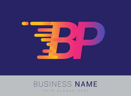 Initial Letter BP speed Design template, company name colored yellow, magenta and blue.for business and company identity.