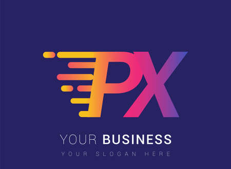 Initial Letter PX speed Design template, company name colored yellow, magenta and blue.for business and company identity.