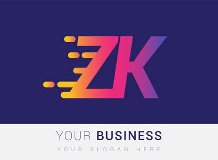 Initial Letter ZK speed Design template, company name colored yellow, magenta and blue.for business and company identity. 向量圖像