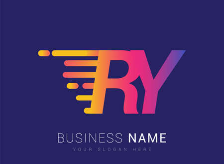 Initial Letter RY speed Design template, company name colored yellow, magenta and blue.for business and company identity.