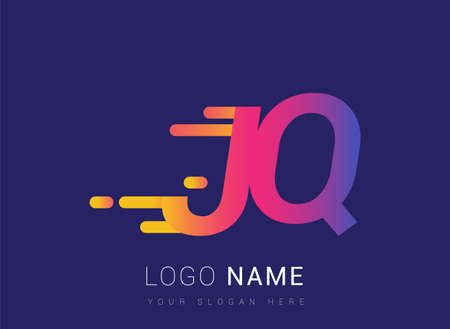 Initial Letter JQ speed Design template, company name colored yellow, magenta and blue.for business and company identity.