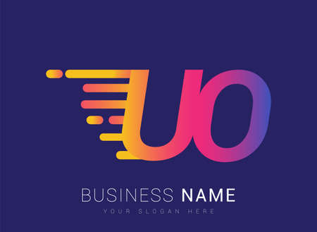 Initial Letter UO speed Design template, company name colored yellow, magenta and blue.for business and company identity.