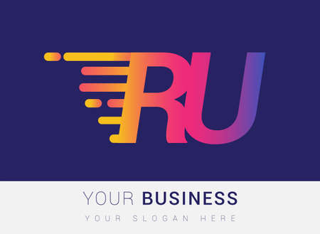 Initial Letter RU speed Design template, company name colored yellow, magenta and blue.for business and company identity. 向量圖像