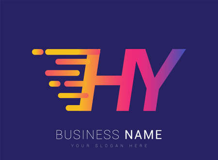 Initial Letter HY speed Design template, company name colored yellow, magenta and blue.for business and company identity. 向量圖像