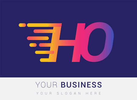 Initial Letter HO speed Design template, company name colored yellow, magenta and blue.for business and company identity.