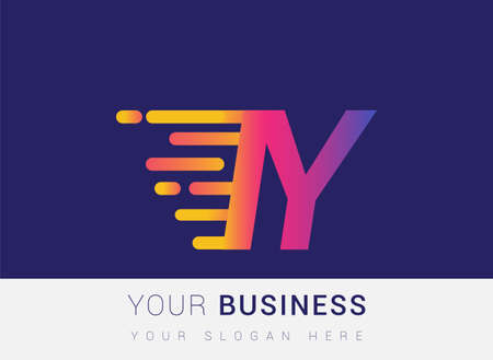 Initial Letter IY speed Design template, company name colored yellow, magenta and blue.for business and company identity.