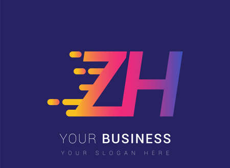 Initial Letter ZH speed Design template, company name colored yellow, magenta and blue.for business and company identity.