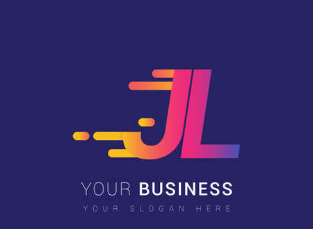 Initial Letter JL speed Design template, company name colored yellow, magenta and blue.for business and company identity. Çizim