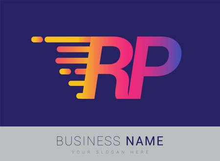 Initial Letter RP speed Design template, company name colored yellow, magenta and blue.for business and company identity.