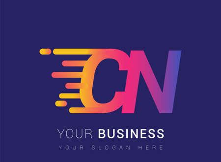 Initial Letter CN speed Design template, company name colored yellow, magenta and blue.for business and company identity. 向量圖像