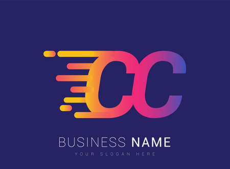 Initial Letter CC speed Design template, company name colored yellow, magenta and blue.for business and company identity. 向量圖像