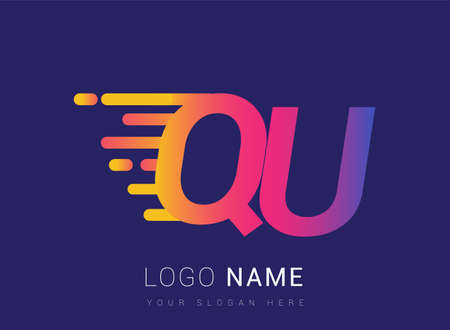 Initial Letter QU speed Design template, company name colored yellow, magenta and blue.for business and company identity.