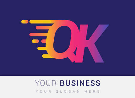 Initial Letter QK speed Design template, company name colored yellow, magenta and blue.for business and company identity.