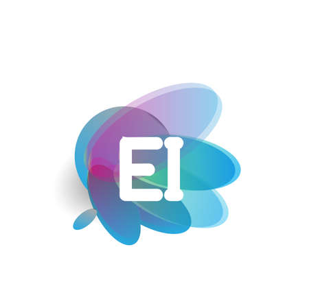 Letter EI with colorful splash background, letter combination design for creative industry, web, business and company. Ilustração