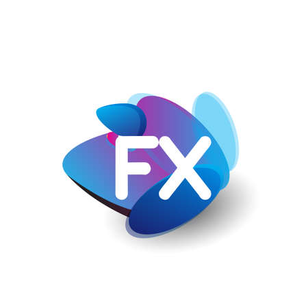 Letter FX   with colorful splash background, letter combination   design for creative industry, web, business and company.