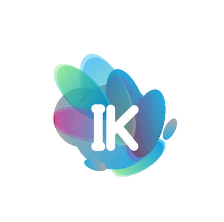 Letter IK symbol with colorful splash background, letter combination design for creative industry, web, business and company.