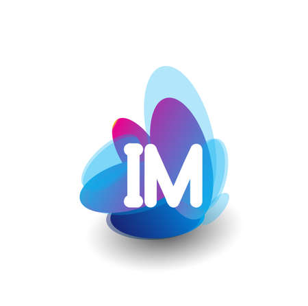 Letter IM symbol with colorful splash background, letter combination design for creative industry, web, business and company.