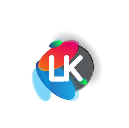 Letter LK logo with colorful splash background, letter combination logo design for creative industry, web, business and company.