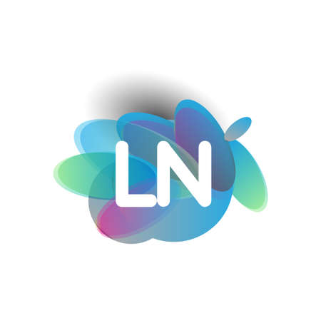 Letter LN logo with colorful splash background, letter combination logo design for creative industry, web, business and company.
