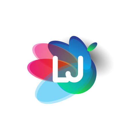 Letter LJ logo with colorful splash background, letter combination logo design for creative industry, web, business and company.