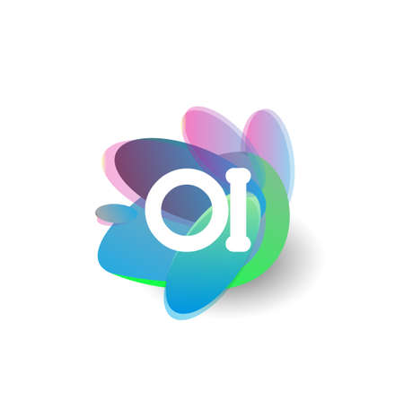 Letter OI logo with colorful splash background, letter combination logo design for creative industry, web, business and company. Logo