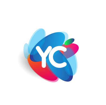 Letter YC logo with colorful splash background, letter combination logo design for creative industry, web, business and company. Logó