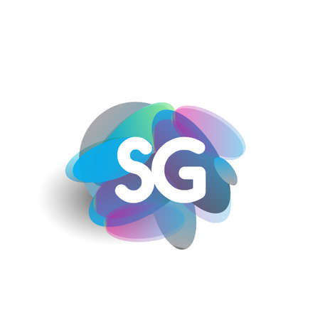 Letter SG icon with colorful splash background, letter combination icon design for creative industry, web, business and company. Illusztráció