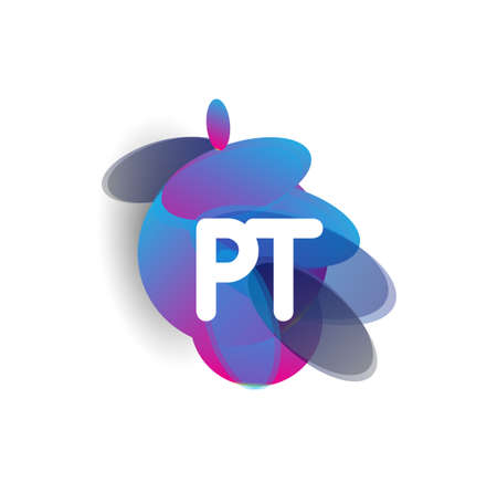 Letter PT icon with colorful splash background, letter combination icon design for creative industry, web, business and company. Vektoros illusztráció