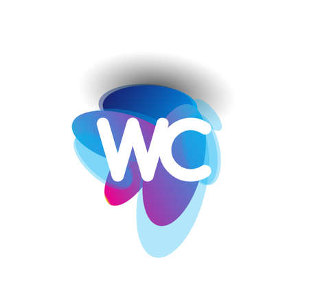 Letter WC logo with colorful splash background, letter combination logo design for creative industry, web, business and company.