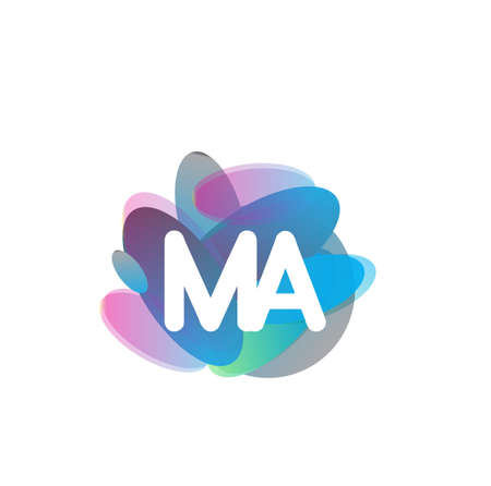 Letter MA logo with colorful splash background, letter combination logo design for creative industry, web, business and company.