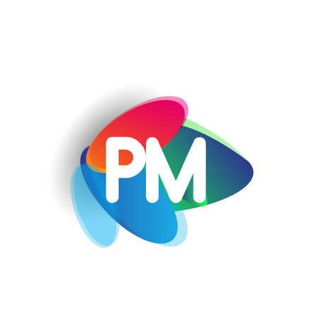Letter PM logo with colorful splash background, letter combination logo design for creative industry, web, business and company.