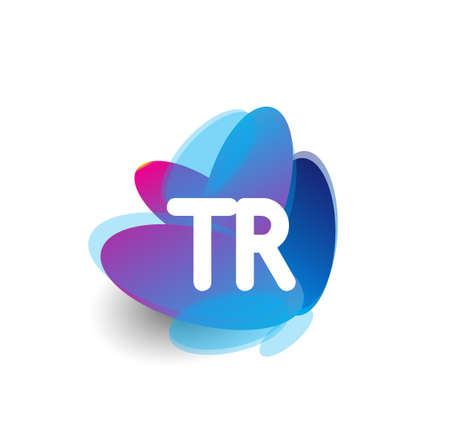 Letter TR logo with colorful splash background, letter combination logo design for creative industry, web, business and company. Logó