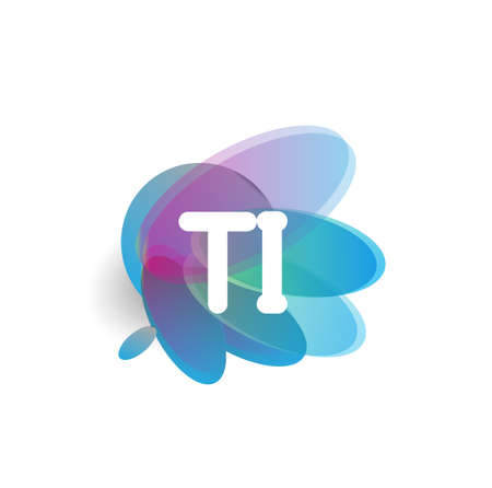 Letter TI logo with colorful splash background, letter combination logo design for creative industry, web, business and company.