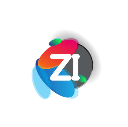 Letter ZI logo with colorful splash background, letter combination logo design for creative industry, web, business and company.