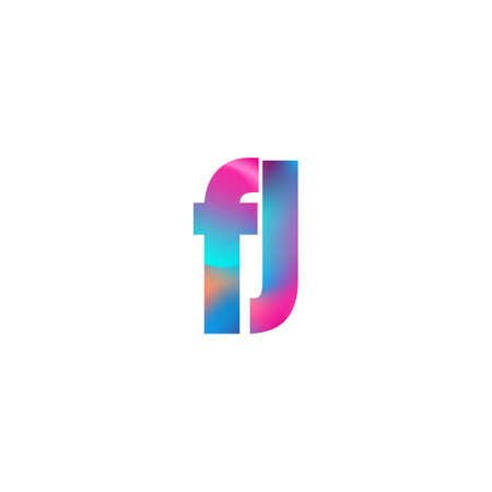 Initial Letter FJ Lowercase colorful design, Modern and Simple Design.