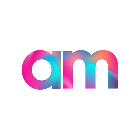 Initial Letter AM Lowercase colorful design, Modern and Simple Design. Çizim