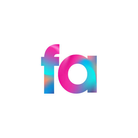 Initial Letter FA Lowercase colorful design, Modern and Simple Design. Çizim