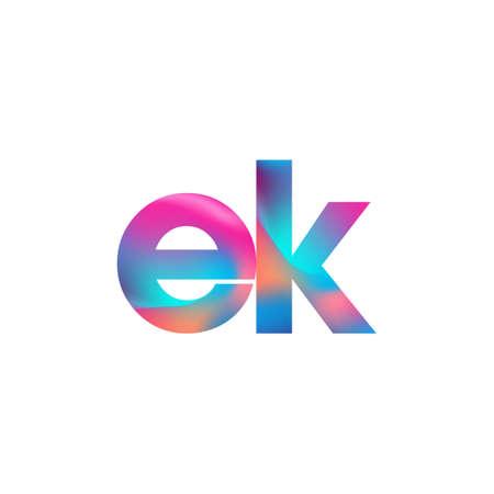 Initial Letter EK Lowercase colorful design, Modern and Simple Design. Çizim