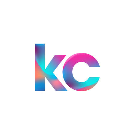 Initial Letter KC Lowercase colorful design, Modern and Simple Design.