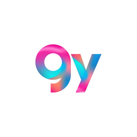 Initial Letter GY Logo Lowercase colorful design, Modern and Simple Logo Design.