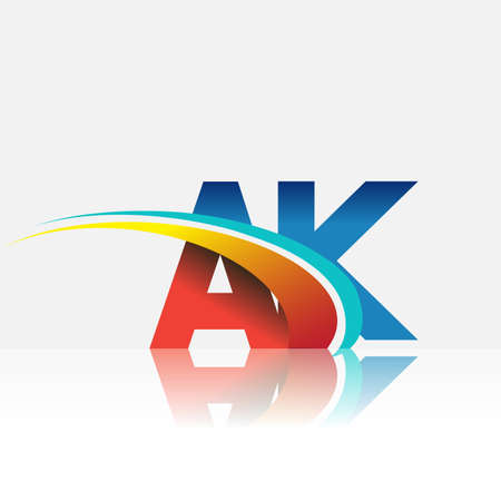 initial letter AK logotype company name colored red and blue and swoosh design. vector logo for business and company identity. Logo