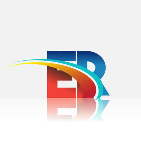 initial letter ER logotype company name colored red and blue and swoosh design. vector logo for business and company identity.