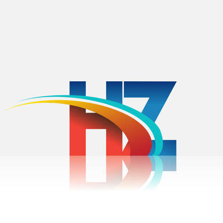 initial letter HZ logotype company name colored red and blue and swoosh design. vector logo for business and company identity.
