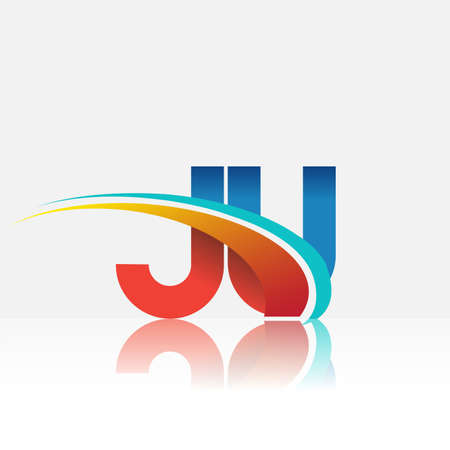 initial letter JU logotype company name colored red and blue and swoosh design. vector logo for business and company identity.