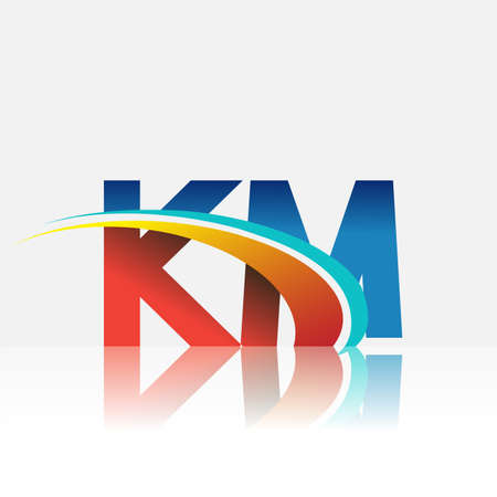 initial letter KM logotype company name colored red and blue and swoosh design. vector logo for business and company identity.