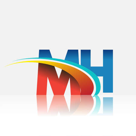initial letter MH logotype company name colored red and blue and swoosh design. vector logo for business and company identity.